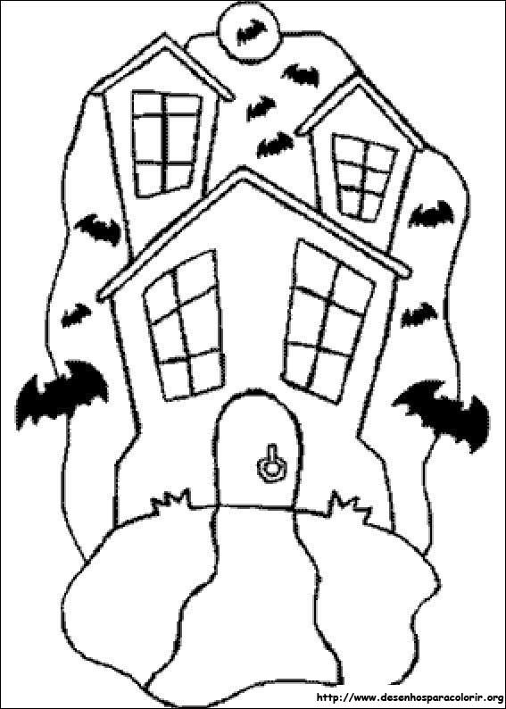 Jogo desenhos do dia das bruxas para colorir jogos online wx - Dessin de maison hantee ...