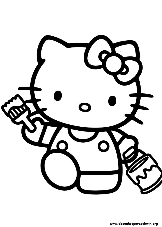 Hello kitty para colorir for Pre printed canvas to paint for adults