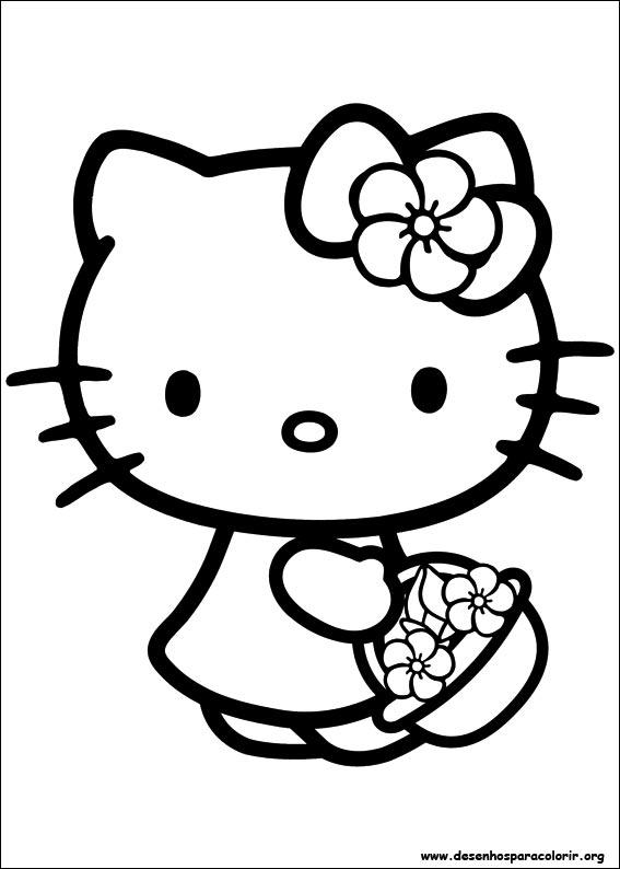 Hello Kitty Para Colorir