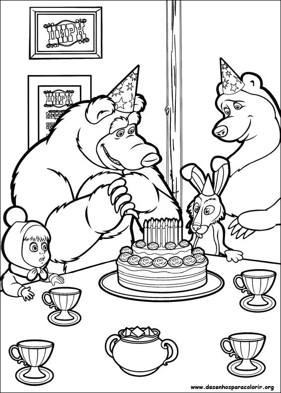 masha coloring pages - masha e o urso para colorir