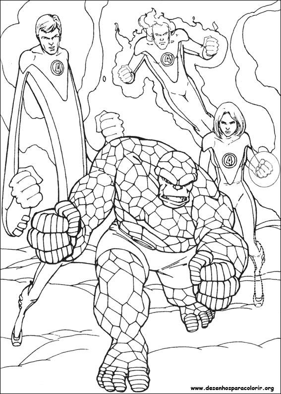 coloring pages fantastic four | O Quarteto Fantástico para colorir